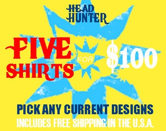 Spring Five Shirt Deal / Pick Any 5 T-Shirts Unisex Sizes S, M, L & XL