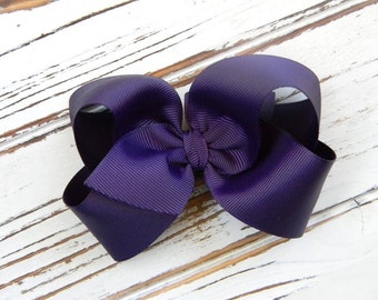Plum Boutique Hair Bow - Plum Hair Bow - Large Plum Boutique Bow