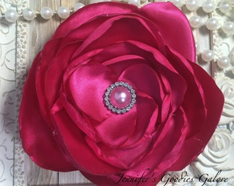 """One Hot Pink 5"""" Satin Flower - Soft Satin Layered Fabric Flowers- Embellished Flowers - Burned Edges Fabric Flowers - Hair accessories"""