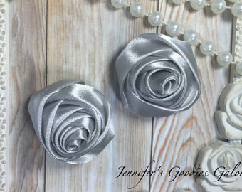 """Set of TWO Silver 2"""" Satin Rosette Flower Heads, Rolled Roses Wholesale Mini Rosettes for Baby Headbands"""