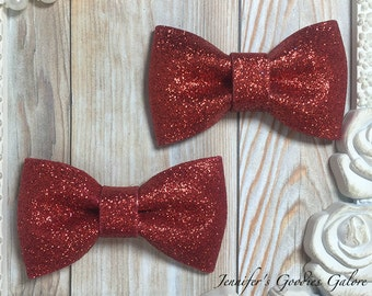 Two RED Glitter Bows- 3 inch glitter Bow- Bow Applique- DIY Bows- Bows- Wholesale- DIY Heaband Supply