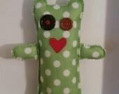 valentine alien doll,alien stuffed toy, polka-dot toy, alien doll, stuffed alien doll, polka-dot doll