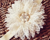 Cream baby headband - flower headband - Cream flower baby headband