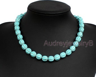 Pumpkin shaped Turquoise necklace turquoise bead necklace wedding necklace statement necklace bridesmaid necklace