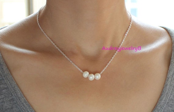 Natural AAA Freshwater Pearl  Necklace, Single Pearl Bracelet  Pearl Bar,wedding, bridal party, bridesmaids gifts, mother Pearl Jewelry