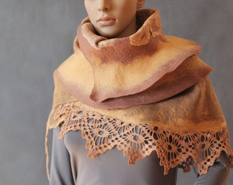 Beige-brown Ruffle Scarf Shawl stole nunofelt shawl OOAK Ready to ship