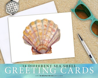14 SEA SHELL Greeting Cards - Set of 14, Sea Shell Watercolor Note Cards, 5x7 cards, Blank Inside