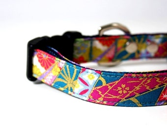 Japanese Sakura Maple kimono Dog Collar - Green blue