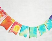 SALE Rainbow Ombre Tie Dye Banner for Birthday Photography Prop