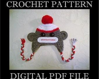 PDF PATTERN - Sock Monkey Crochet Hat Pattern