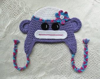 READY TO SHIP - 1 to 3 Year Size - Purple Sock Monkey Crochet Winter Hat or Photo Prop