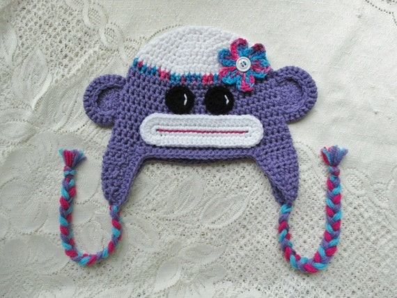 Purple Sock Monkey Crochet Winter Hat or Photo Prop - Available in Any Size or Color Combination