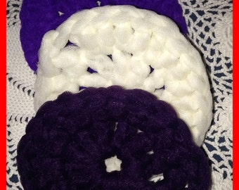 Lot 3 Nylon SCRUBBIES Crocheted Purple White Blackberry FREE SHIP