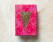Golden heart -  gold leaf heart - acrylic painting -  home decoration - red, pink, bordeaux - 10x15x5 cm