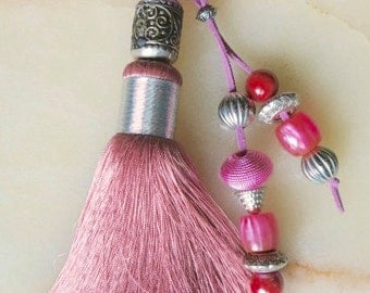 Moroccan accessory - soft rose art silk tassel - beaded  pendent  - moroccan art
