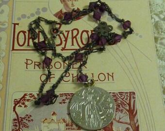 ANTIQUE LOVE TOKEN sterling engraved coin  vintage assemblage antique necklace