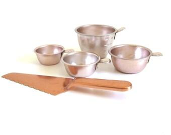 Copper Anodized Pie Server, Aluminum Measuring Cups, 1960s Kitchen