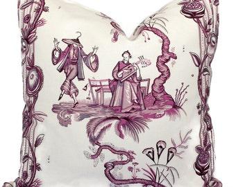 Quadrille Pillow Cover Lavender Purple Danse Chinoise Square, Eurosham or Lumbar pillow Accent Pillow, Throw Pillow, Toss Pillow, China Seas