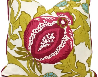 Jacobean Floral Decorative  Pillow Cover, Magenta and  Chartreuse,  18x18, 20x20, 22x22, 24x24, Eurosham pillow cushion, throw pillow