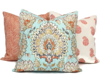 Pillow Cover with Aqua, Terracotta, Gray, Gold Medallion, Square, Eurosham or Lumbar Pillow, Accent Pillow, Throw Pillow, Pillow Cover