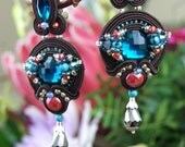 Soutache Clip-On Earrings / Ear Clips /dark brown, red, turquoise