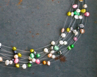 Colorful Fresh Water Pearl Necklace - Vintage Multi Strand Short Necklace