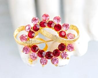 Pink and Red Rhinestones Lapel Pin Vintage Brooch