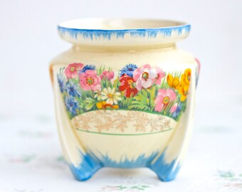 Colorful Flowers Antique Footed Pot - Cliff style Vase - Earthenware Small Planter - Wilkinson Ltd England - Artists Brushes
