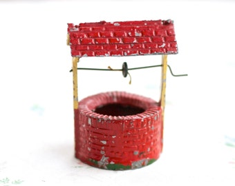 Iron Cast red Water Well - Antique Lead Toy - Farm Vintage Miniature