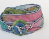 Silver Hummingbird, Whirly Wrap, Wrap Bracelet, Silk Ribbon, Monet's garden, spring colors, silk wrap, silk garden wrap, tiny hummingbird
