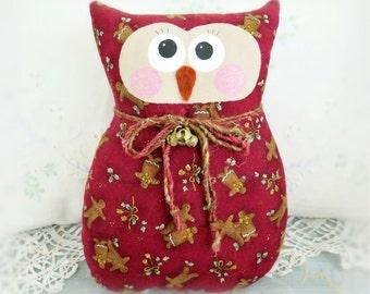 OWL Pillow Owl Doll, 9 in. Christmas Gingerbread, Soft Sculpture Prim Handmade CharlotteStyle Decorative Folk Art