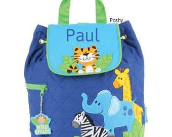 Personalized Boys Diaper Bag or Backpack Stephen Joseph Zoo Boy NEW