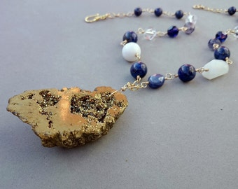 Gold Druzy Necklace - Dark Blue Necklace with Lapis Lazuli, Sapphire, Iolite, Moonstone, Agate, Rock Crystal, Vintage Glass and Gold Fill
