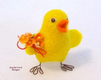 Chick, Needle Felted Chick, Baby Chick, Yellow and Orange, Felted Chicken, Sculpture