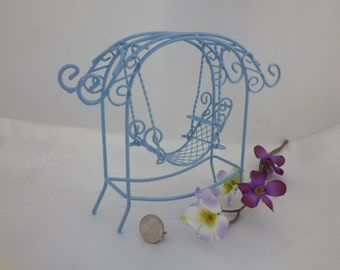 Blue Canape Swing for Fairy Garden or Doll House Fun