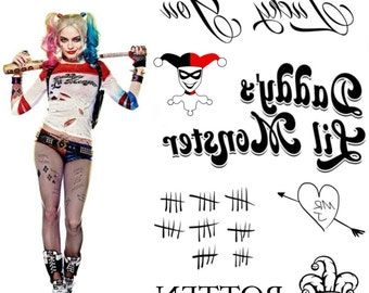 Harley Quinn Costume Temporary Tattoos - Harley Quinn Halloween Costume - Suicide Squad Tattoos - Harley Quinn Cosplay