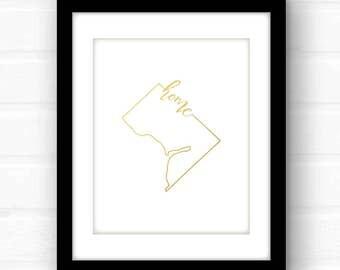 Washington DC print | gold foil Washington DC art print | gold foil print | Washington DC home decor | gold foil art print | gold foil sign
