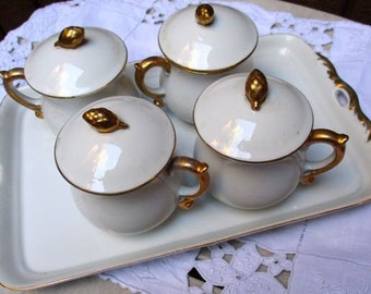 Pot de creme set 4 cups tray Golden Heirloom JSC French dessert cups white and gold porcelain china chocolate custard espresso demitasse