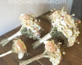 Dried & Preserved Flower Wedding Bouquet - Blush, Pink, Creamy White, Ivory, Sola -  Amore Collection