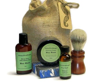 Large Mens Shaving Gift Set with Shea butter Soap, Shave Soap, Pre Shave Oil and Aftershave in Bay Rum