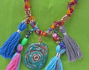 art necklace, polymer pendant, tassels, fiber, yarn, folk, outsider art, recycled, free postage in the UK