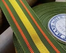 "1.25"" Vintage Straight Edge woven grosgrain Hat Band Ribbon Trim Stripe Green orange yellow"