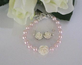 Flower Girl Pearl Bracelet and Earring-Pink Flower Girl Bracelet and Earring Set-Personalized Pearl Flower Girl Bracelet-Flower Girl Jewelry