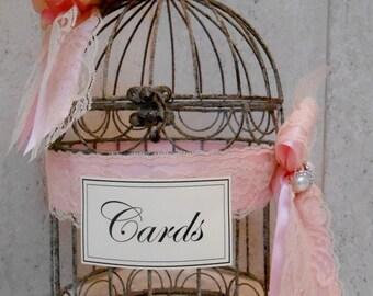 Birdcage Wedding Card Holder / Wedding Decorations / Wedding Cardholder / Pink Rose Wedding Card Holder / Decorative Birdcage / Pink Wedding