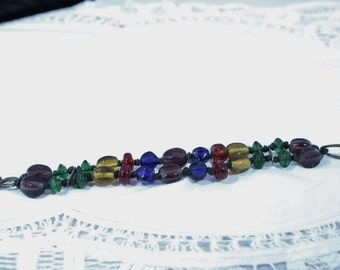 Two Strand Multi Color / Colorful Glass Beads Bracelet
