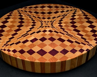 """Gorgeous """"Purple Diamonds 3D"""" Professional End Grain Round Butcher Block Round Cutting Board Christmas Gift **FREE SHIPPIING to lower 48!**"""