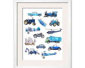 Things that Go Blue! Transportation Art Print