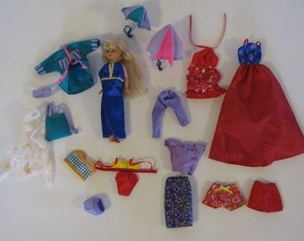Vintage Lot of Barbie / Skipper Clothes and one Skipper Doll