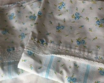 Vintage Blue Stripe and Floral Pillowcases, Glamping