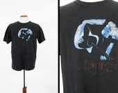 Vintage 90s Ani DiFranco T-shirt Faded Distressed Black Rock Tee - Large
